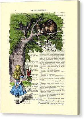 Alice In Wonderland And Cheshire Cat Canvas Print by Madame Memento