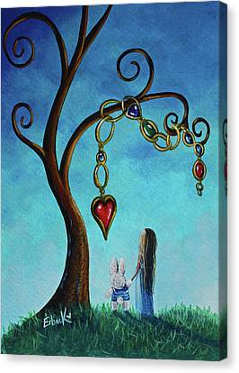 Alice In Wonderland Art - Alice And The Jeweled Tree Canvas Print by Shawna Erback