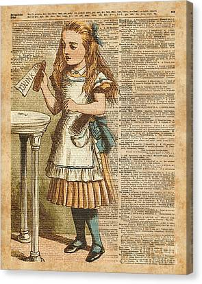 Alice In Wonderland Drink Me Vintage Dictionary Art Illustration Canvas Print