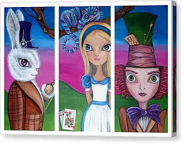 Alice In Wonderland Inspired Triptych Canvas Print by Jaz Higgins