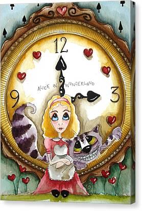 Alice In Wonderland Tick Tock Canvas Print by Lucia Stewart