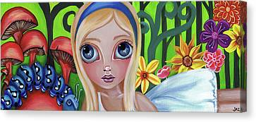 Alice Meets The Caterpillar Canvas Print by Jaz Higgins