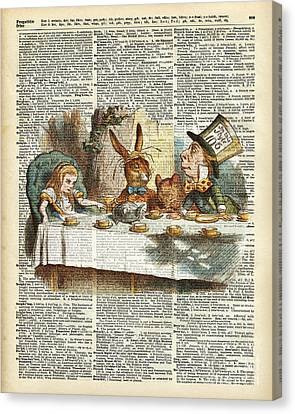 Dictionary Canvas Print - Alice Morning Tea Time by Jacob Kuch