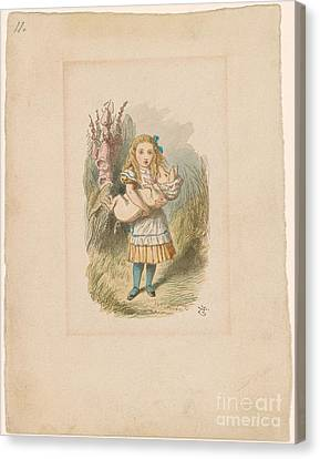 Alice With Baby Pig Canvas Print by MotionAge Designs