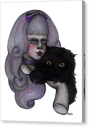 Alice With Black Cat Canvas Print