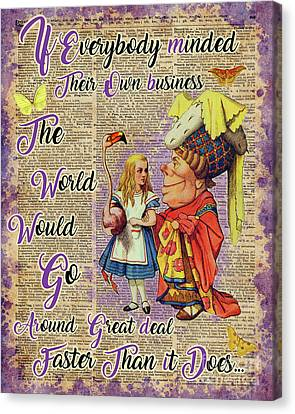 Alice With The Duchess Vintage Dictionary Art Canvas Print by Jacob Kuch