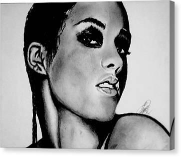 Alicia Keys Drawing Canvas Print by Keeyonardo