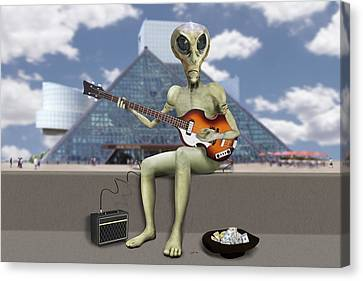 Canvas Print - Alien Bass Guitarist  by Mike McGlothlen