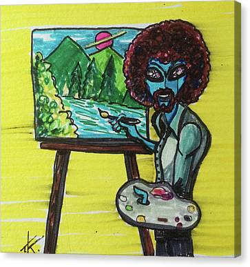 alien Bob Ross Canvas Print