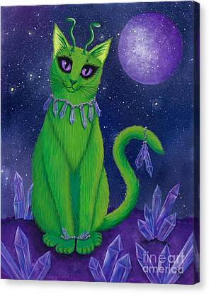Canvas Print featuring the painting Alien Cat by Carrie Hawks