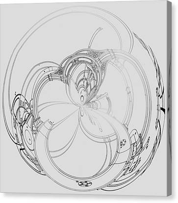 Canvas Print featuring the digital art Alien Flywheel by Robert G Kernodle