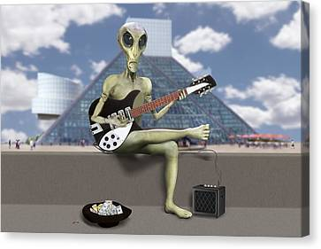 Alien Guitarist 1 Canvas Print by Mike McGlothlen