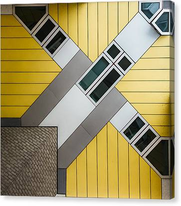 Yellow Building Canvas Print - Alien Hug by Peter Pfeiffer
