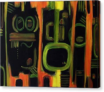 Canvas Print featuring the painting Alien Interception by Lynda Lehmann