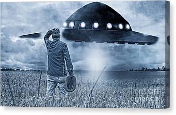 Alien Invasion Cyberpunk Version Canvas Print by Edward Fielding