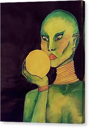 Alien Lady Canvas Print by Libby Sealy