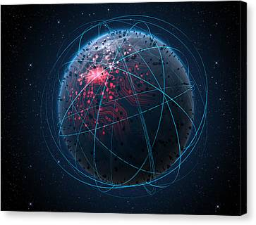 Alien Planet With Illuminated Network And Light Trails Canvas Print