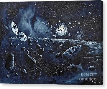Alien Saucers Playing Dodge Rock Canvas Print by Murphy Elliott