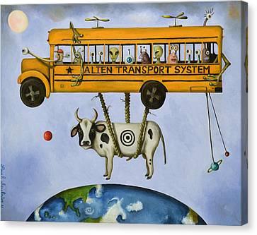 School Bus Canvas Print - Alien Transport Pro Photo by Leah Saulnier The Painting Maniac