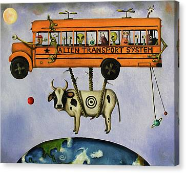 School Bus Canvas Print - Alien Transport System by Leah Saulnier The Painting Maniac