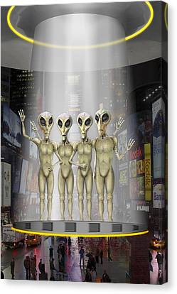 Alien Vacation - Beamed Up From Time Square Canvas Print by Mike McGlothlen