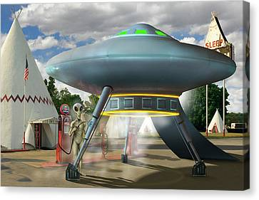 Alien Vacation - Gasoline Stop Canvas Print by Mike McGlothlen