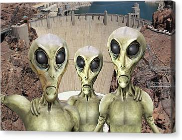 Alien Vacation - Hoover Dam Canvas Print by Mike McGlothlen