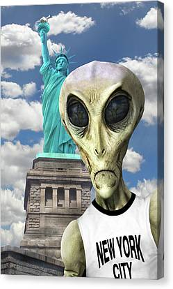 Alien Vacation - New York City 3 Canvas Print by Mike McGlothlen