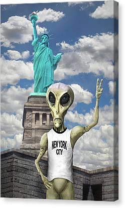 Alien Vacation - New York City Canvas Print by Mike McGlothlen