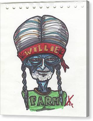 Canvas Print featuring the drawing alien Willie Nelson by Similar Alien