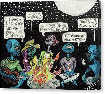 Aliens By The Campfire Canvas Print