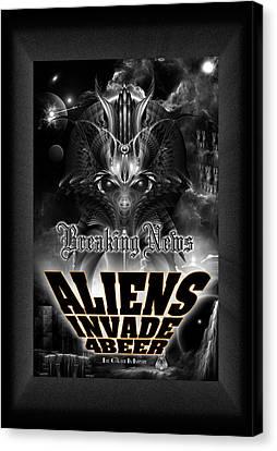Aliens Invade 4 Beer Galaxy Attack Canvas Print