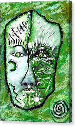 Canvas Print featuring the painting Alive A Mask by Shelley Bain