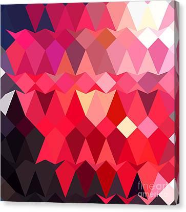 Alizarin Crimson Abstract Low Polygon Background Canvas Print by Aloysius Patrimonio