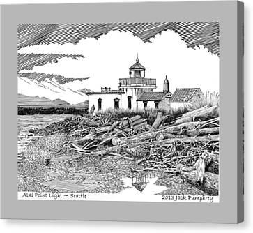 Alki Point Lighthouse Seattle Canvas Print by Jack Pumphrey
