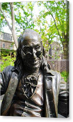 Benjamin Franklin Canvas Print - All About The Benjamins by Bill Cannon
