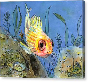 All Alone - Squirrel Fish Canvas Print by Arline Wagner