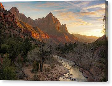Zion National Park Canvas Print - All Along The Watchman by Peter Irwindale