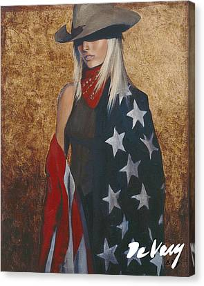 Contemporary Cowgirl Art Canvas Print - All American by David DeVary