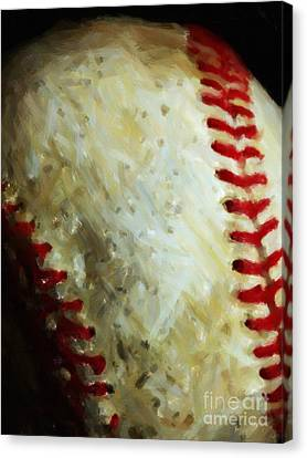 All American Pastime - Baseball - Vertical Cut - Painterly Canvas Print