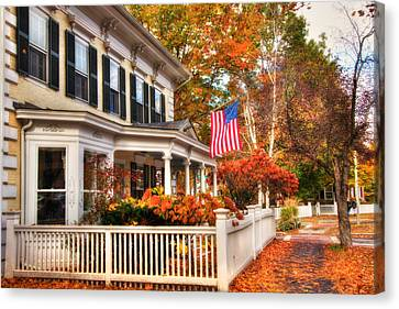 All American Street In Autumn - Woodstock, Vermont Canvas Print