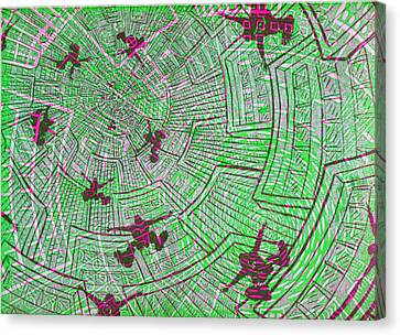 Lino-cut Canvas Print - All Around In Green  by Igallery Prints