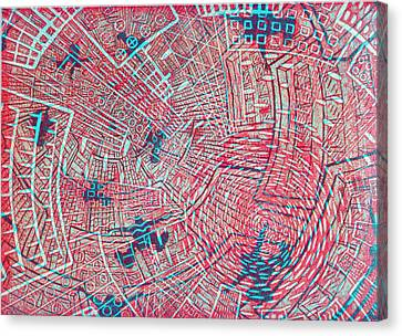 Lino Cut Canvas Print - All Around In Red by Igallery Prints
