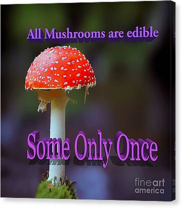 All Mushrooms Are Edible. Some Only Once  Canvas Print by Humorous Quotes