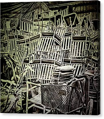 Canvas Print featuring the photograph All Piled Up by Lewis Mann