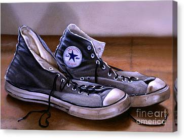 Sneakers Canvas Print - All Stars by Lawrence Preston