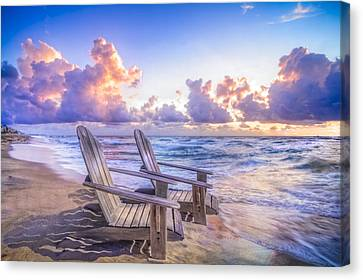 Adirondack Chairs On The Beach Canvas Print - All Summer Long by Debra and Dave Vanderlaan