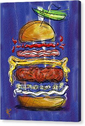 Hamburger Canvas Print - All The Fixings by Russell Pierce