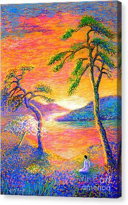 Tropical Sunset Canvas Print -  Buddha Meditation, All Things Bright And Beautiful by Jane Small