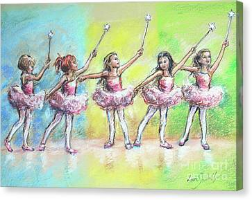 All Together Now...first Ballet Recital Canvas Print by Laurie Shanholtzer